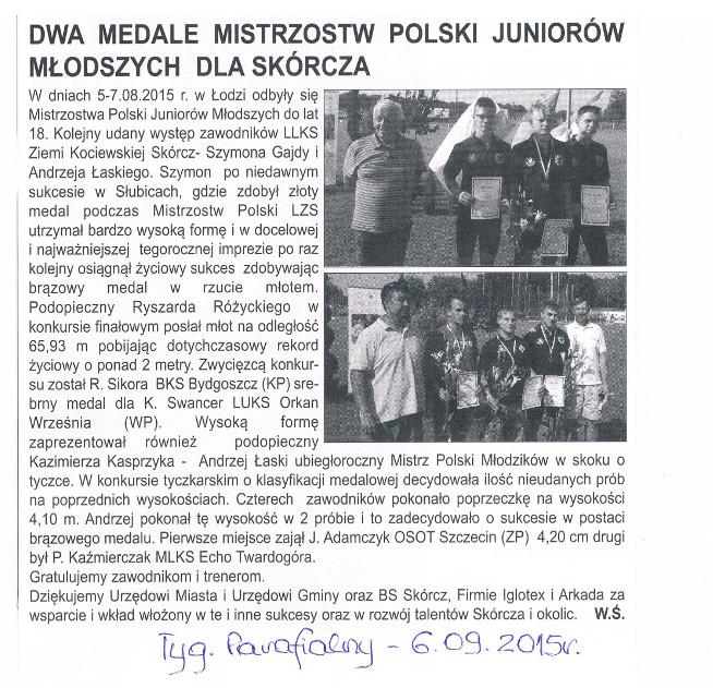 Dwa medale Mistrzostw Polski Juniorów Młodszych dla Skórcza